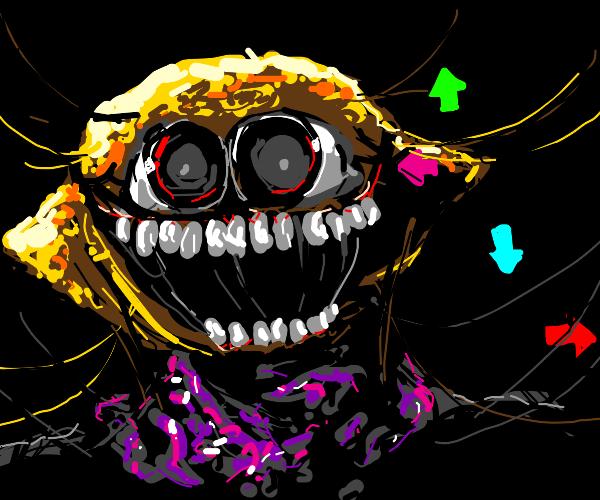 creepy lemon man plays DDR