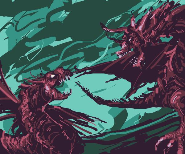 Dragon vs basillisk