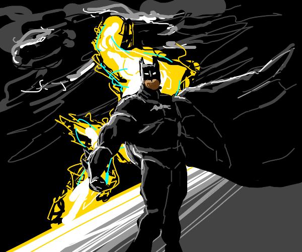 Batman's silhouette during lightning strike