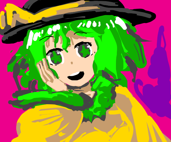 a Touhou girl with short hair and starry eyes