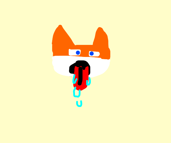Anthro fox with extremely wet tongue