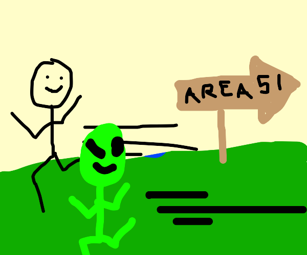 A man and an alien escaping area 51