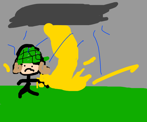 unhappy soldier in a thunderstorm