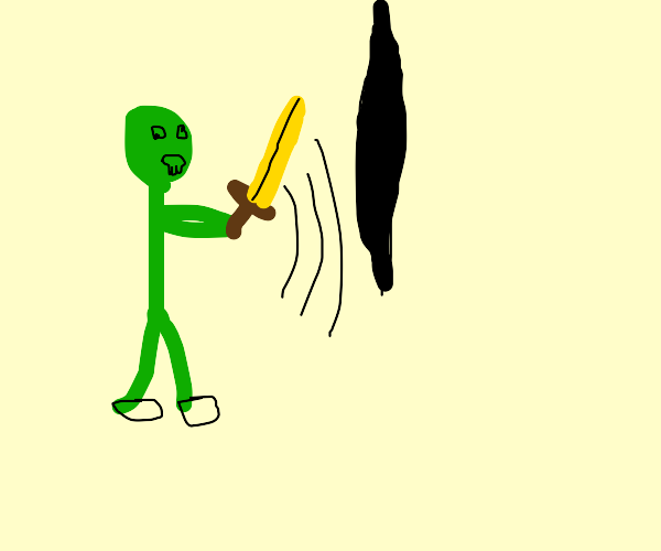 Zombie with gold sword cuts hole on reality