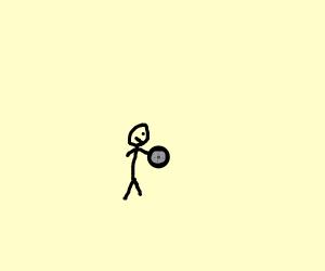 stickman holds a wheel