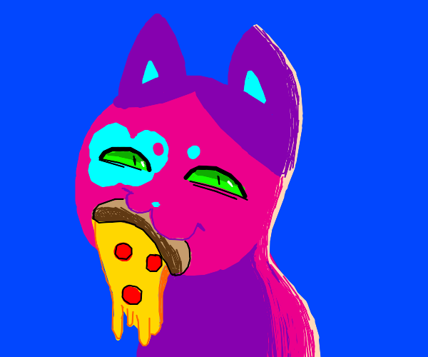 Colorful Kitty monches Pizza