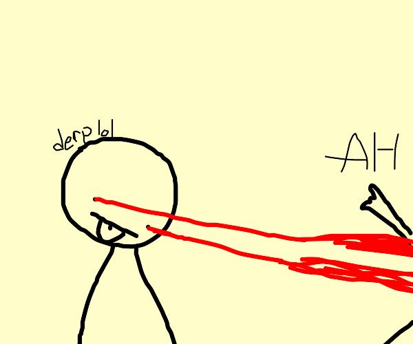 Derpy kid with laser beam eyes