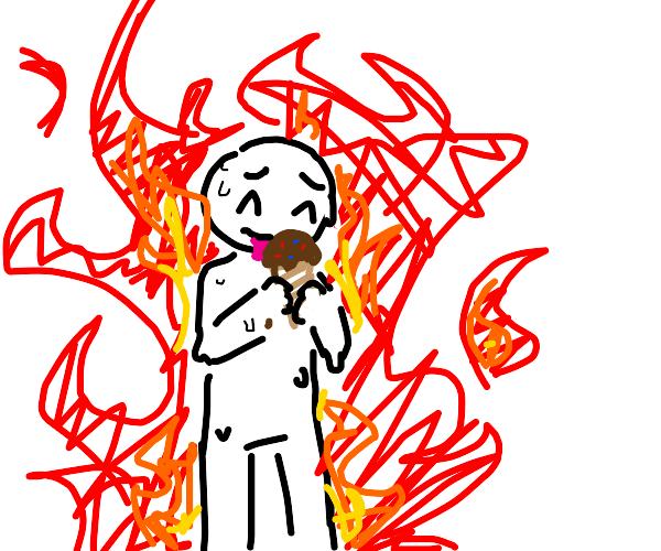 Guy eats ice cream in fire
