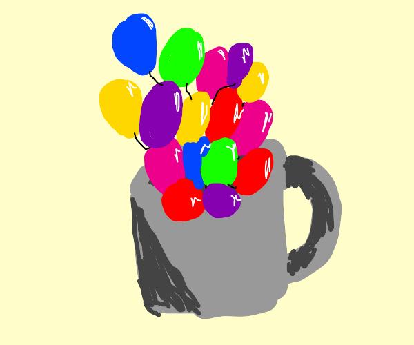 Balloons in a mug