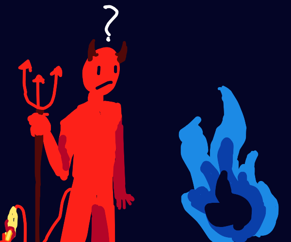 Satan confused by blue fire