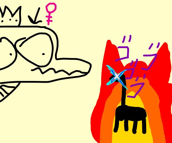 Dragon queen looks at a flaming giraffe