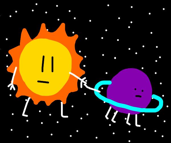 sun walking its purple planet pet