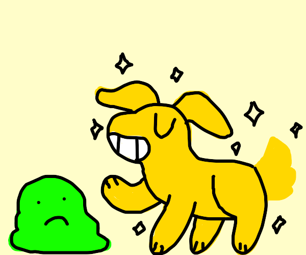 Overconfident dog showing off to blob