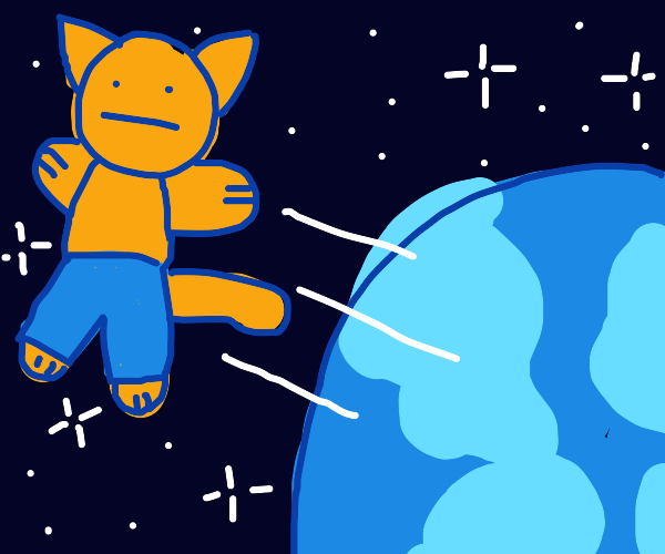 Cat wearing pants gets yeeted into space