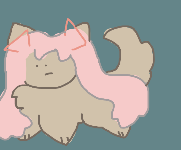 Pomeranian with pink Hatsune Miku hair