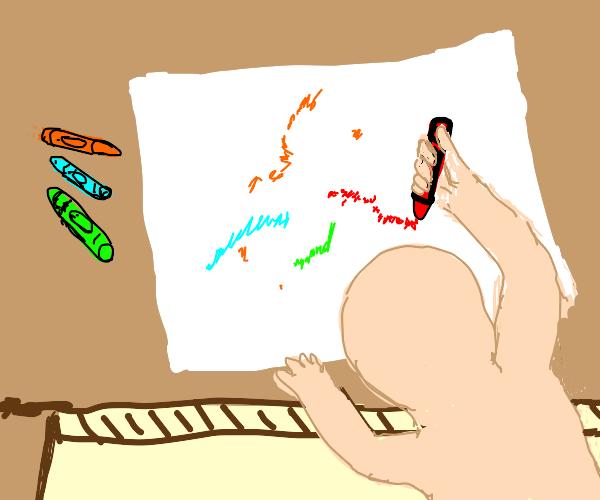 childish scribbling