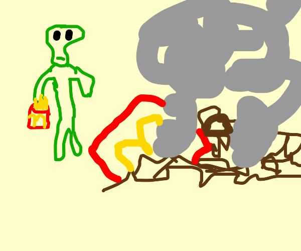 Alien Destroys Mcdonalds & steals they Fries