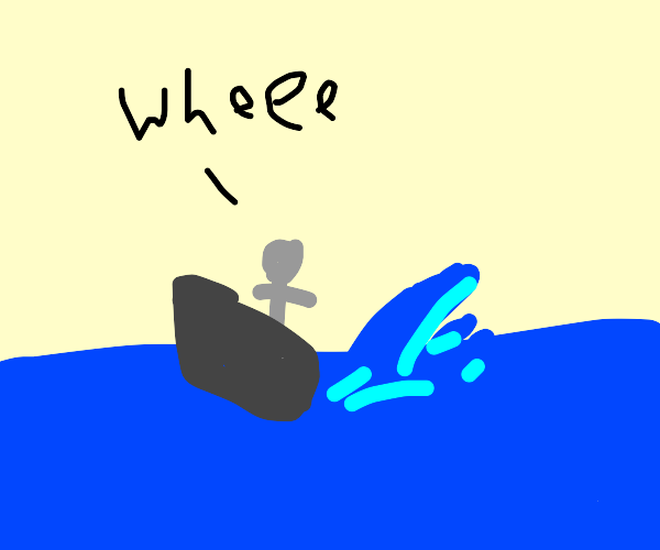 some gray dude driving a boat in the ocean