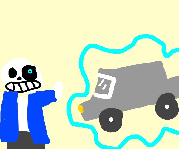 sans undertale freezes car