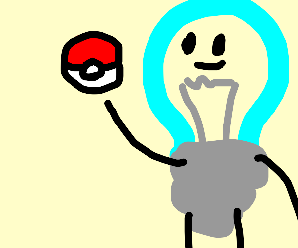 Lightbulb holding a poke ball