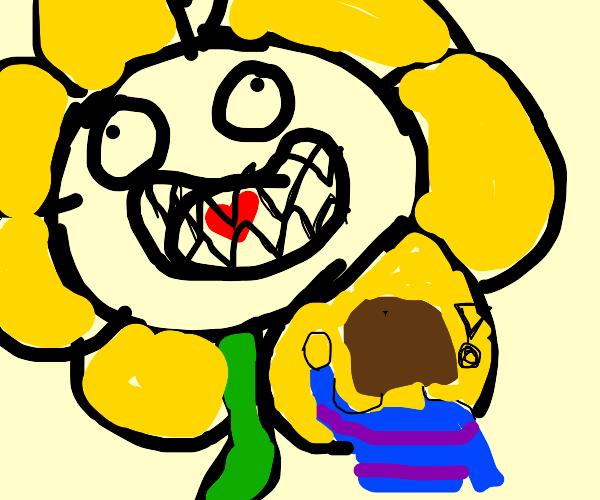 Flower eating a heart