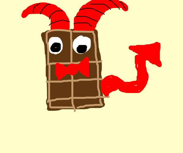 Chocolate demon with a red bow tie.