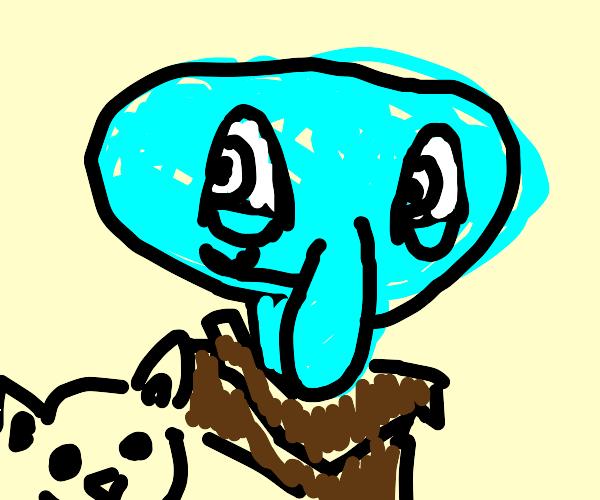 A Kawaii Squidward with a heart