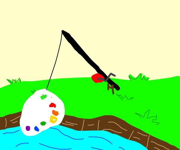 Fishing A Paint Pallet Out Of Water