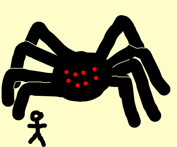 giant round spider with red eyes, tiny people