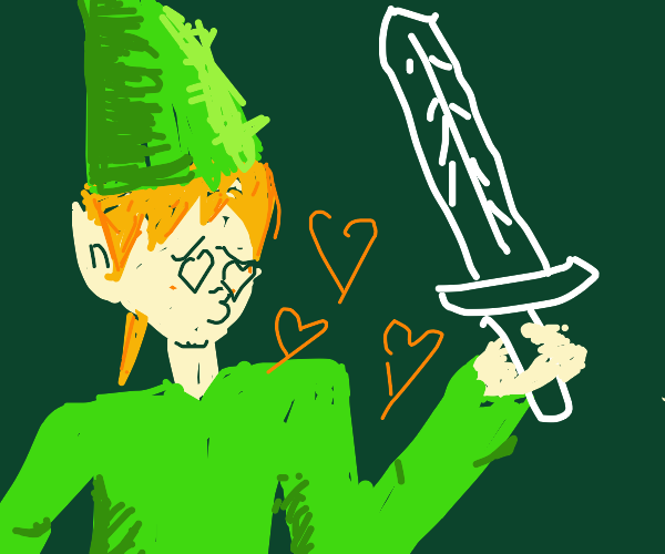 link flirts with his sword