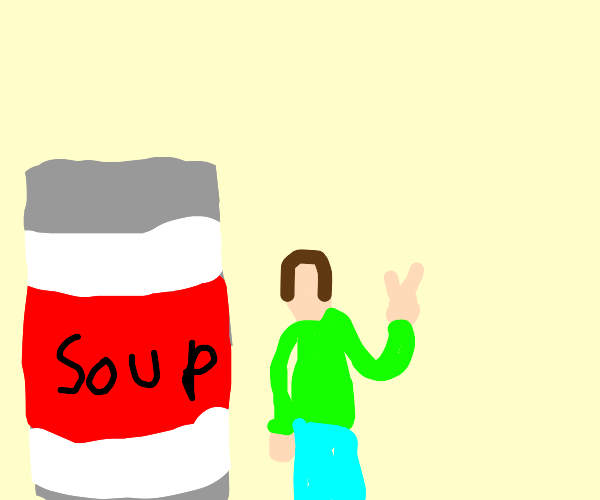 Man posing in front of soup can