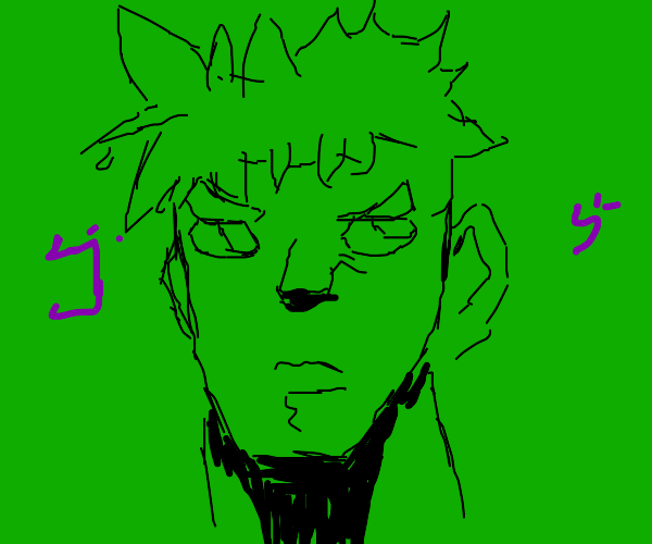Green Anime Man has kanji surrounding him