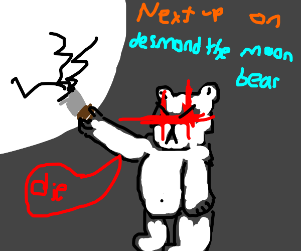 A bear destroying the moon.
