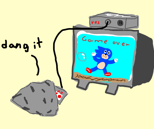 Rock plays a video game