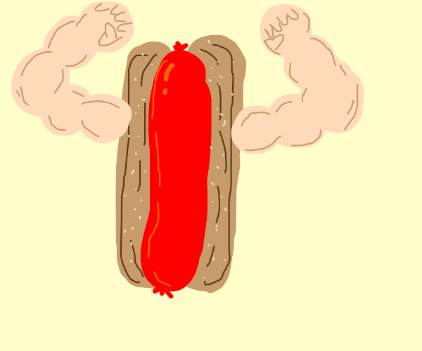 Hot dog with buff human arms