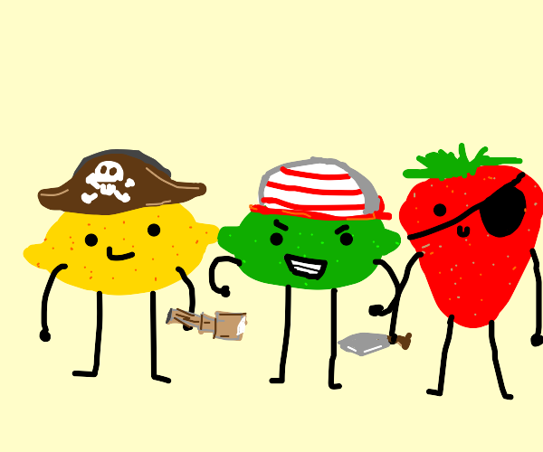 A lemon, a lime, and a strawberry as pirates