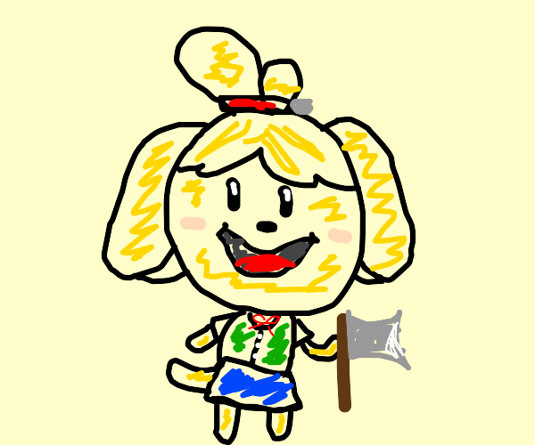Isabelle (Animal Crossing) with a knife