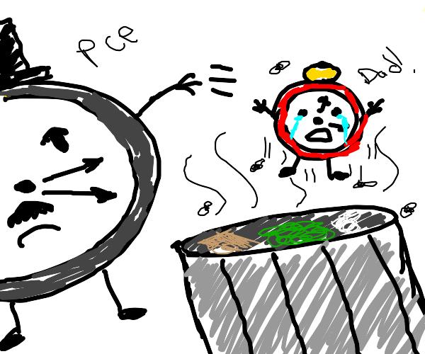 clock man throws away clock son