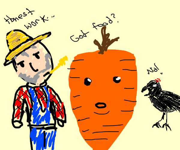 Farmer with a fat carrot and a bird