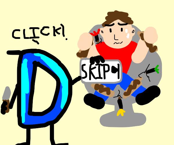 Drawception tortures man to make him skip