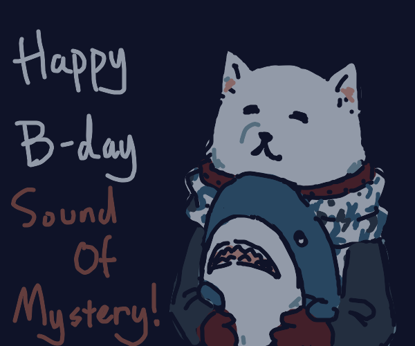 Dog leaves shadows for shark's birthday hug