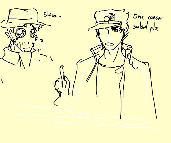 Jotaro ordering a cesar salad infront of jiji