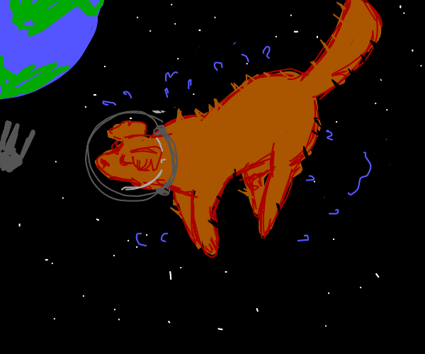 Cosmic dog shakes dry in space