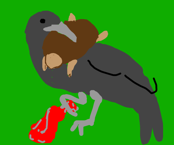 Bird holding a turtle and balloon