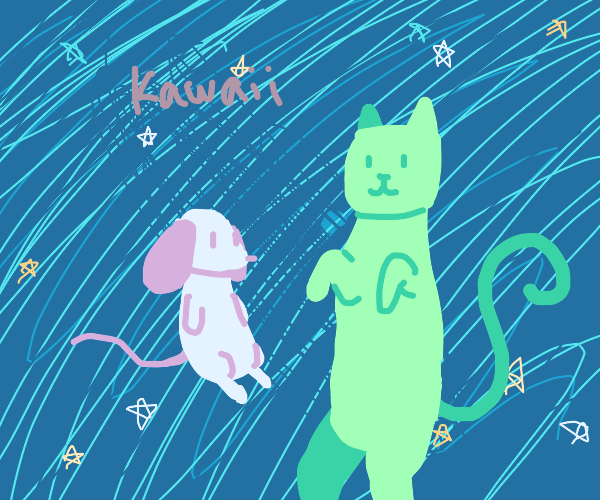 Cute cat and mouse in space