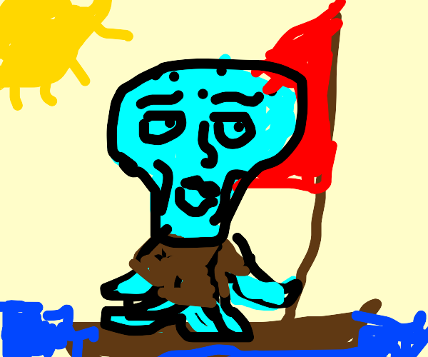 Squidward Stranded On A Boat