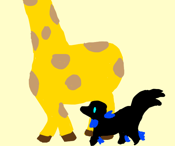 tall giraffe with black dog with blue spikes