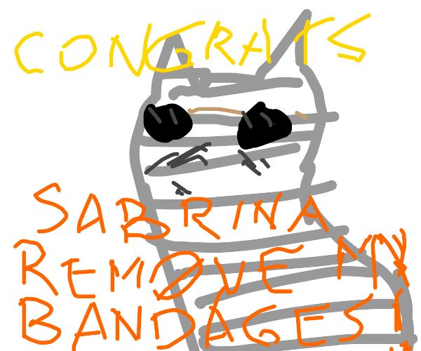 mummified cat congratulates you