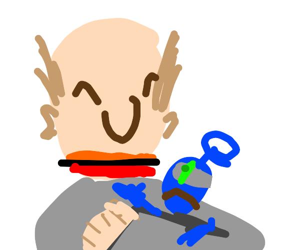 Man holding tiny, blue sad creature