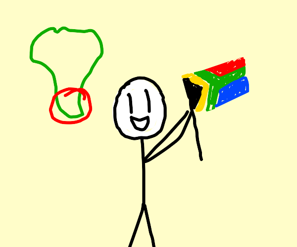 Henry Stickmin waves a South African flag